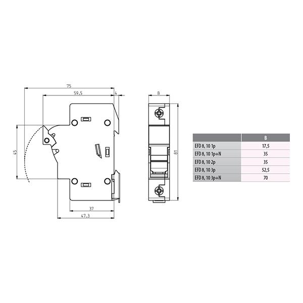 ETI EFD 10 1p Rastavljač (postolje) za cilindrične CH osigurače