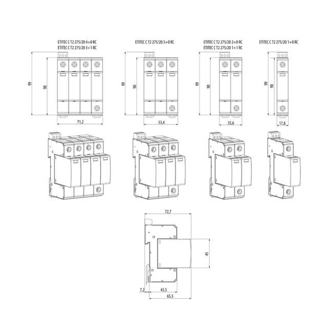 ETI ETITEC C T2 275/20 1+0 Odvodnik prenapona tip C T2